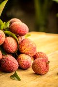 Lychee, ripe red table ready to eat. Stock Photos