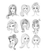 Stock Illustration of Black and White Cartoon Illustration of Women Characters Faces Set