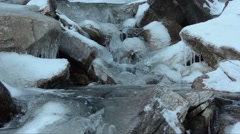 Stock Video Footage of torrent, creek, spill, ice, water,  Alps