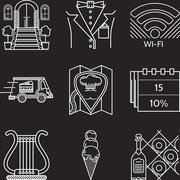 Restaurant industry white line vector icons Stock Illustration