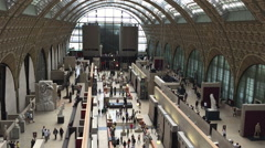 Extreme wide shot of the Musee Orsay with sound Stock Footage