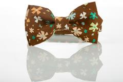 Brown bow tie on a white background. floret - stock photo