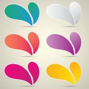 color vector paper speech bubble set - stock illustration