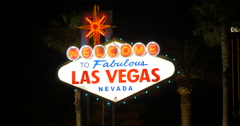Welcome to Fabulous Las Vegas Nevada sign in lights 4k Stock Footage