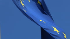 European Flag With Blue Sky Background - stock footage