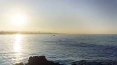 Time-lapse of sea beach sunrise over Ayia Napa resort Stock Footage