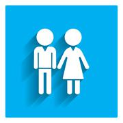 Man and woman's silhouettes - stock illustration