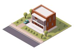 Vector isometric modern house - stock illustration