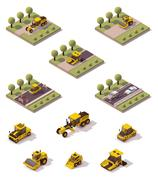 Vector isometric road surface making technology - stock illustration