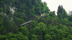 Salzwelten cable car in Hallstatt alps mountain forest Stock Footage