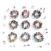 people in the shape of abstract symbols - stock illustration