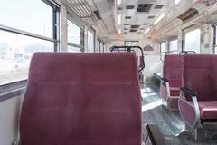 Stock Photo of Kawaguchiko, JAPAN - March 02, 2015: Inside Fujikyu commuter train at the Kaw
