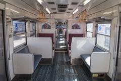 Kawaguchiko, JAPAN - March 02, 2015: Inside Fujikyu commuter train at the Kaw - stock photo
