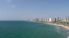 aerial view of Tel-Aviv coastline  Israel - stock footage