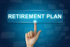 hand press on retirement plan button on touch screen - stock photo
