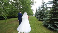 Wedding couple walking - stock footage