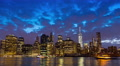 New York City panoramic view skyline, time lapse from dusk till night Footage