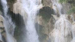 Closeup of Kuang Si waterfalls at Laos Stock Footage