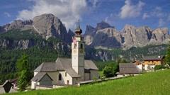 Colfosco village in Italian Alps, Dolomites - stock footage