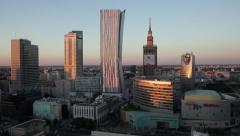 Warszawa Centrum - zachód słońca Stock Footage