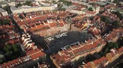 Stare Miasto w Warszawie z lotu ptaka Stock Footage