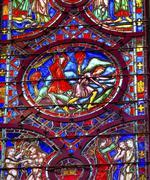 Cain Able Adam Eve Stained Glass Sainte Chapelle Paris France - stock photo