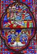 Angels Disciples Stained Glass Sainte Chapelle Paris France - stock photo