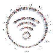 Stock Illustration of people in the shape of an Wi fi