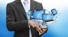 Businessman using modern mobile phone - stock photo
