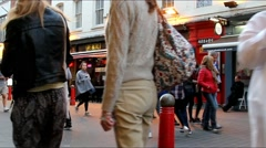 Hundreds of tourists and locals at the streets of Chinatown - slow motion video Stock Footage