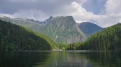 Common vew of lake in Italian Alps, Dolomites Stock Footage