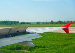 Braking after landing - stock photo