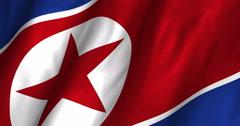 North Korea waving flag 4K Stock Footage