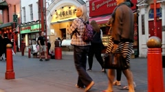 Hundreds of tourists and locals  at the streets of Chinatown - time lapse Stock Footage
