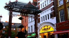 Colorful landmark - Chinatown gate   in evening time Stock Footage