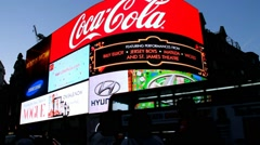 Famous Piccadilly Circus neon signage - one of major attraction of London Stock Footage