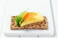 Stock Photo of Whole grain crisp bread with butter