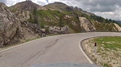 Curved road in Dolomites, Italy Stock Footage