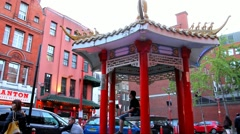 Tourists and locals  at Chinatown in evening time Stock Footage