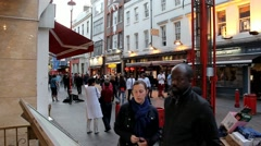 Hundreds of tourists and locals  at the streets of Chinatown in evening time. Stock Footage