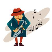 Saxophonist Playing Love Melody Vector Stock Illustration