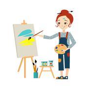 Beautiful Artist Woman Painting on Canvas - stock illustration