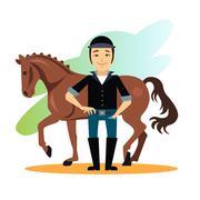 Jockey Design Concept Set - stock illustration