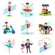 Stock Illustration of Active lifestyle, Hobbies, Healthy Lifestyle Set