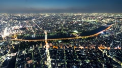 Time-lapse high above Tokyo at night Stock Footage