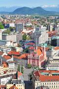 Aerial view of Slovenian capital Ljubljana - stock photo