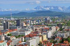Aerial view of Slovenian capital Ljubljana Stock Photos