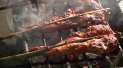 Skewered Barbecue Chicken Stock Footage