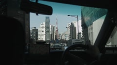 Viewing the Tokyo Tower through a Taxi Stock Footage