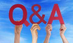 Hands Hold Red Straight Questions Answers Blue Sky Stock Photos
